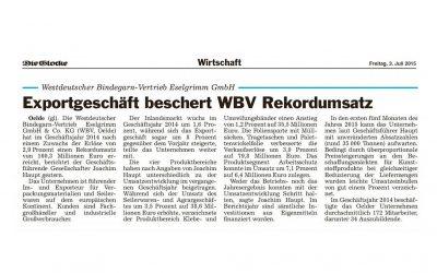 Exportgeschäft beschert WBV Rekordumsatz
