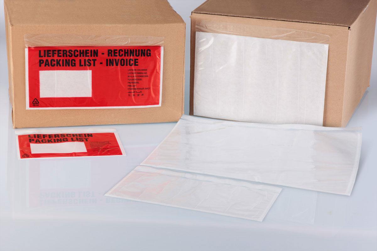 Selbstklebende Begleitpapiertaschen schützen Lieferscheine und Rechnungen vor Staub, Schmutz und Feuchtigkeit beim Versand