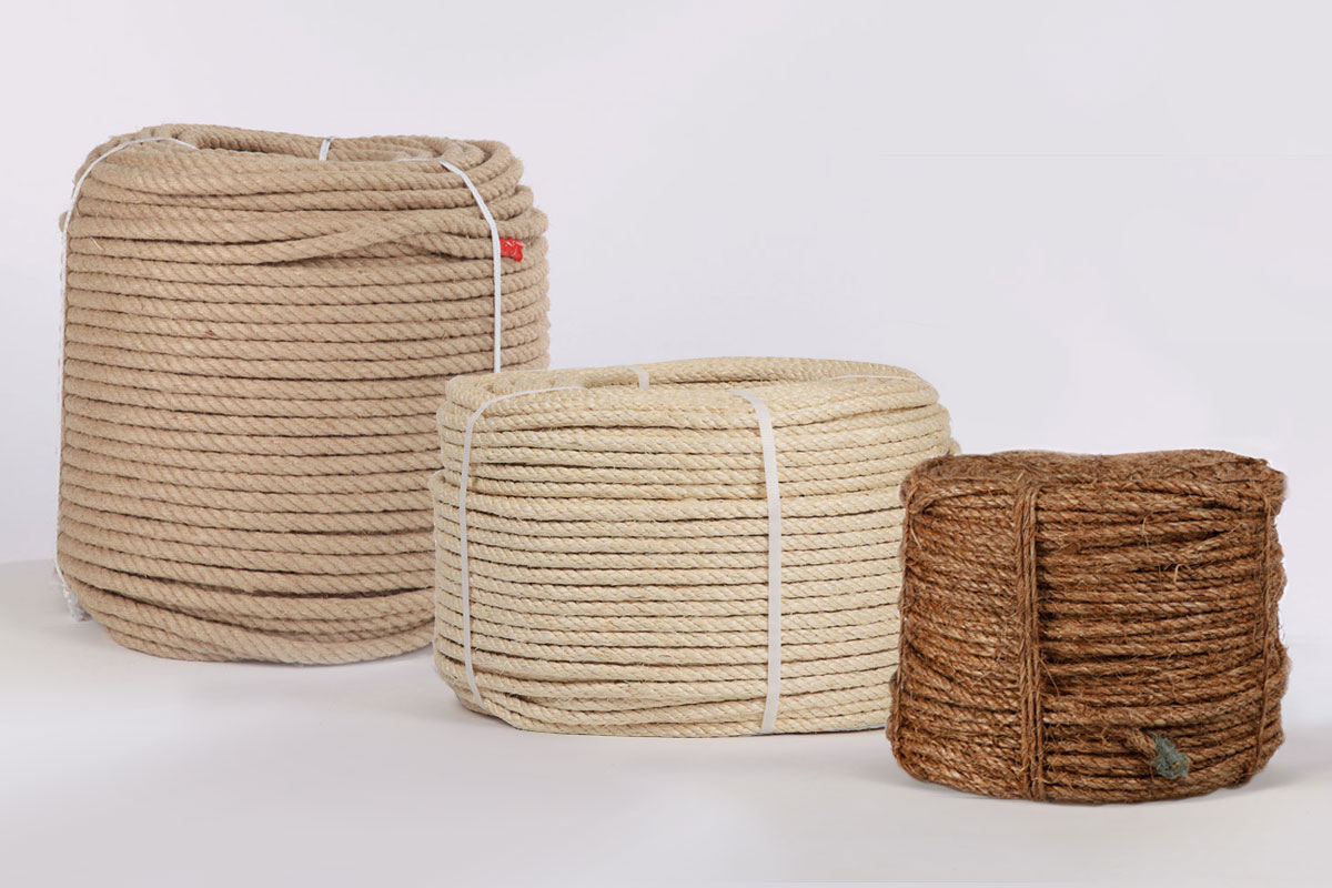Ropes made of natural fibres and artificial fibres: hemp, flax, sisal, PP, nylon & polyhemp