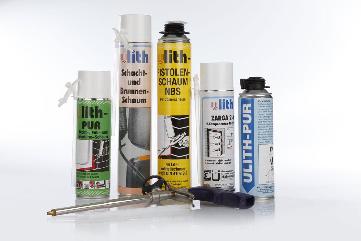 Montage-Schaum, Schacht- und Brunnen-Schaum, Pistolen-Schaum, Ulith 3-Komponenten
