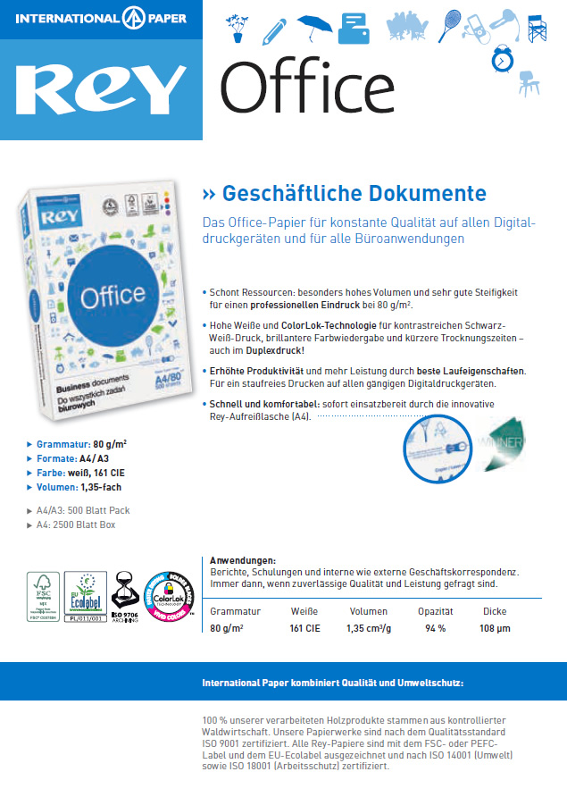 Datenblatt Allround-Kopierpapier Rey Office