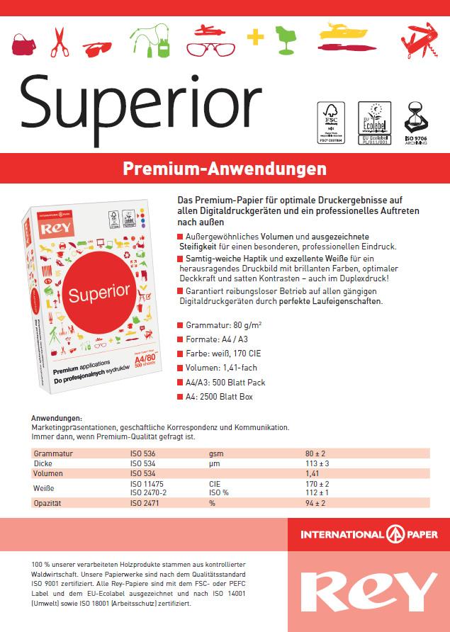 Datenblatt Premium-Kopierpapier Rey Superior
