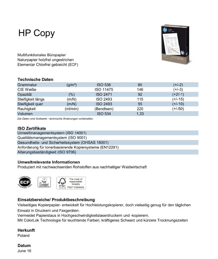 Datenblatt HP Copy