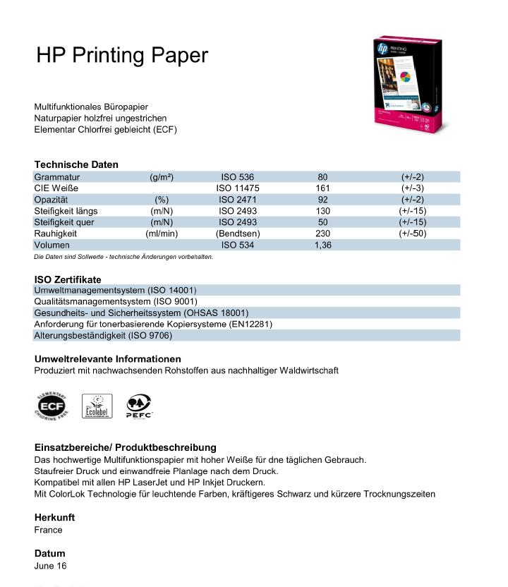 Datenblatt HP Printing