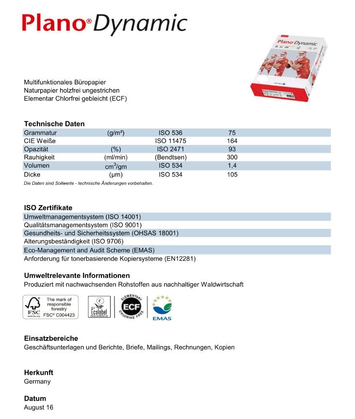 Datenblatt Multifunktions-Kopierpapier Plano Dynamic