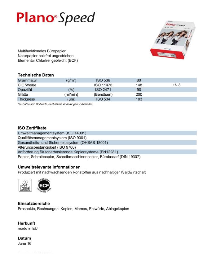 Datenblatt Multifunktions-Kopierpapier Plano Speed