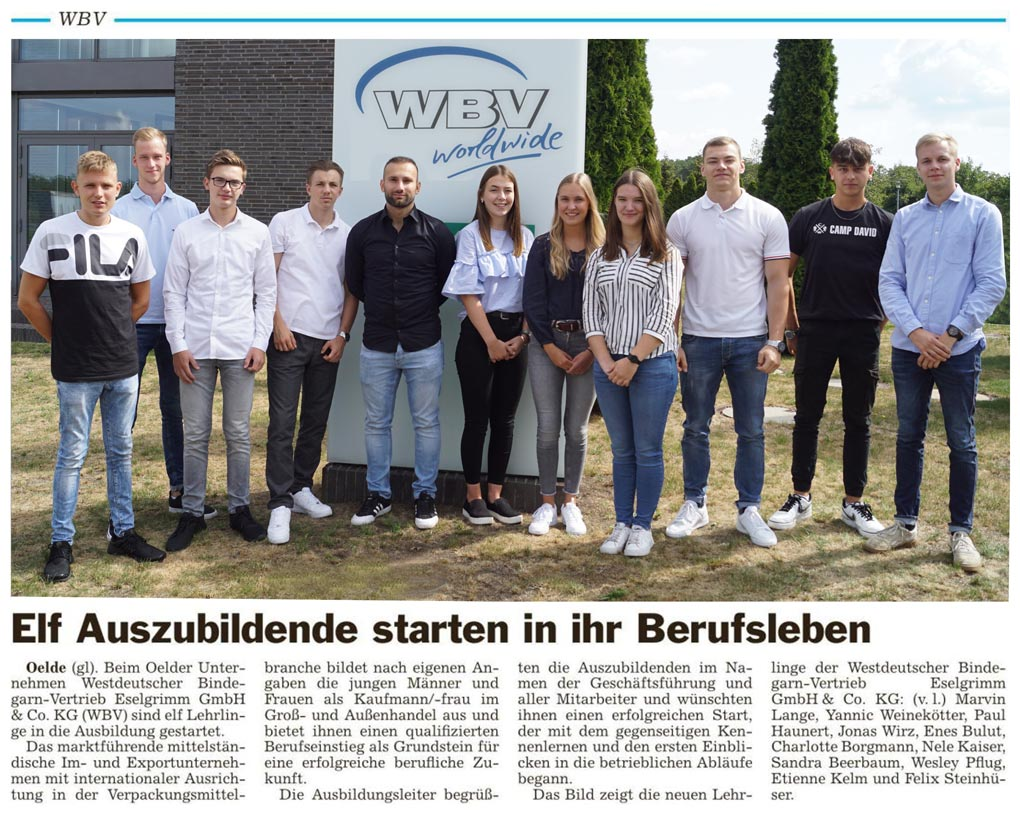Auszubildende starten bei WBV in den Beruf